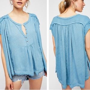 Free People Aster Oversized Henley Tee